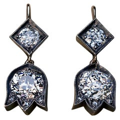 Antique Russian 2.95 Ct Old Mine Cut Diamond Earrings