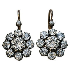 Antique Russian 4.28 Carat Diamond Cluster Earrings