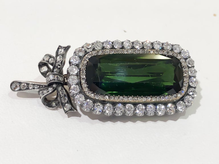 Late Victorian Antique Russian 7 Carat Tourmaline and Diamond Brooch Pendant For Sale