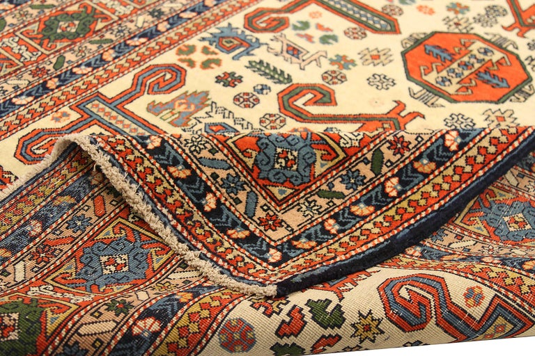 Hand-Woven Antique Russian Area Rug Azarbaijan Design For Sale