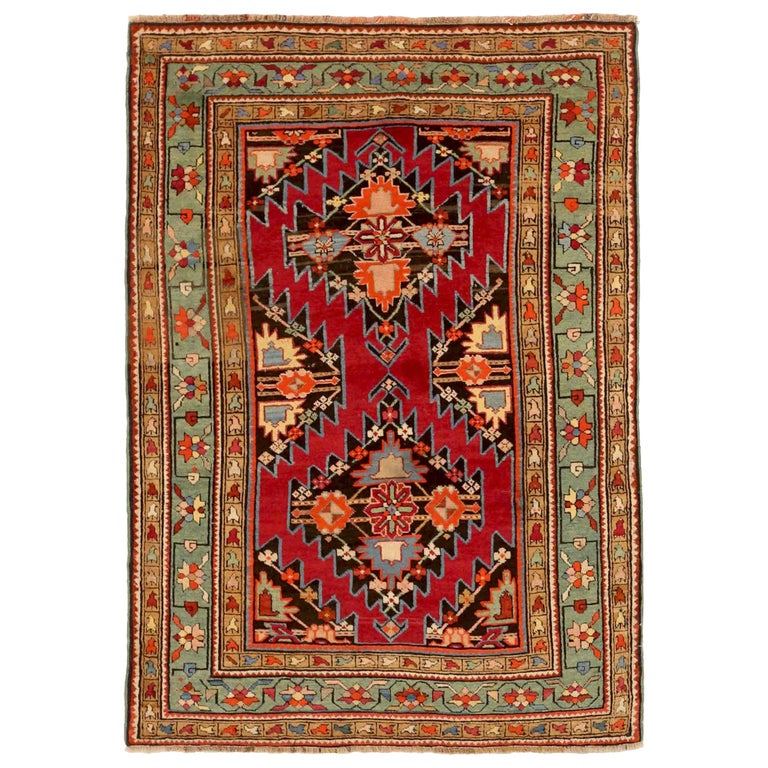 Antique Russian Area Rug Gharebagh Design For Sale