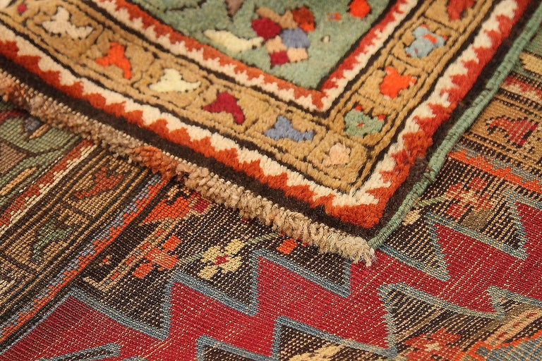 Hand-Woven Antique Russian Area Rug Gharebagh Design For Sale