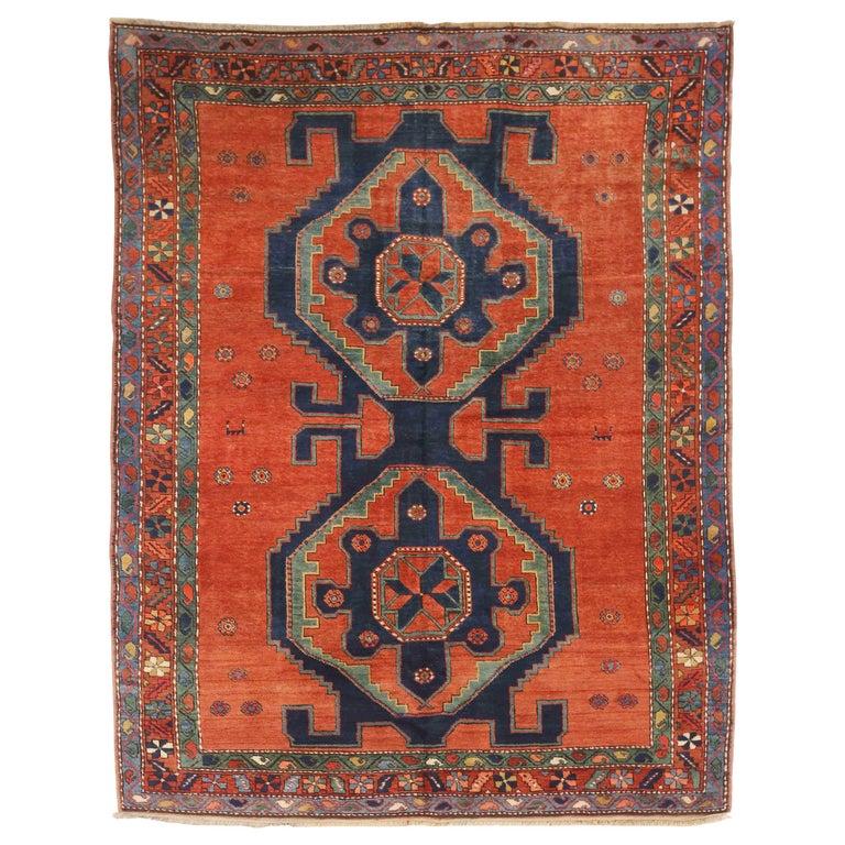 Antique Russian Area Rug Kazak Design For Sale