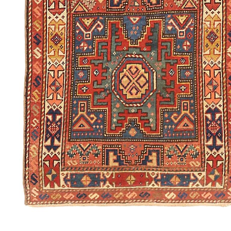 Hand-Woven Antique Russian Area Rug Kazak Design For Sale