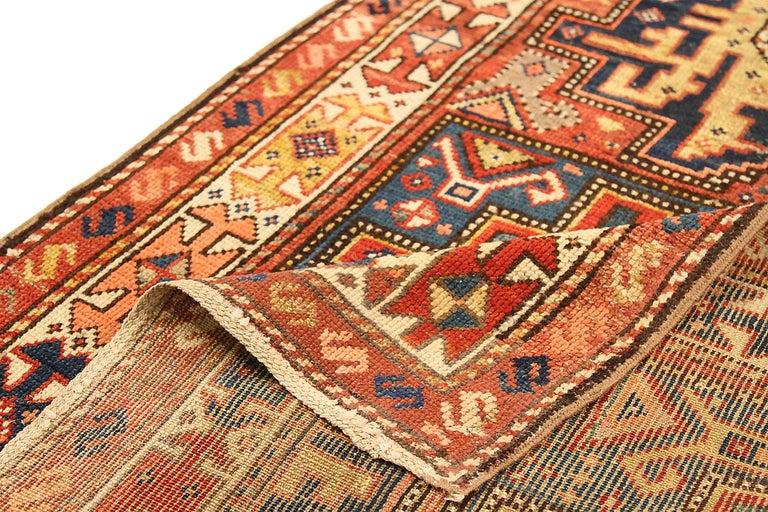 Antique Russian Area Rug Kazak Design In Excellent Condition For Sale In Dallas, TX