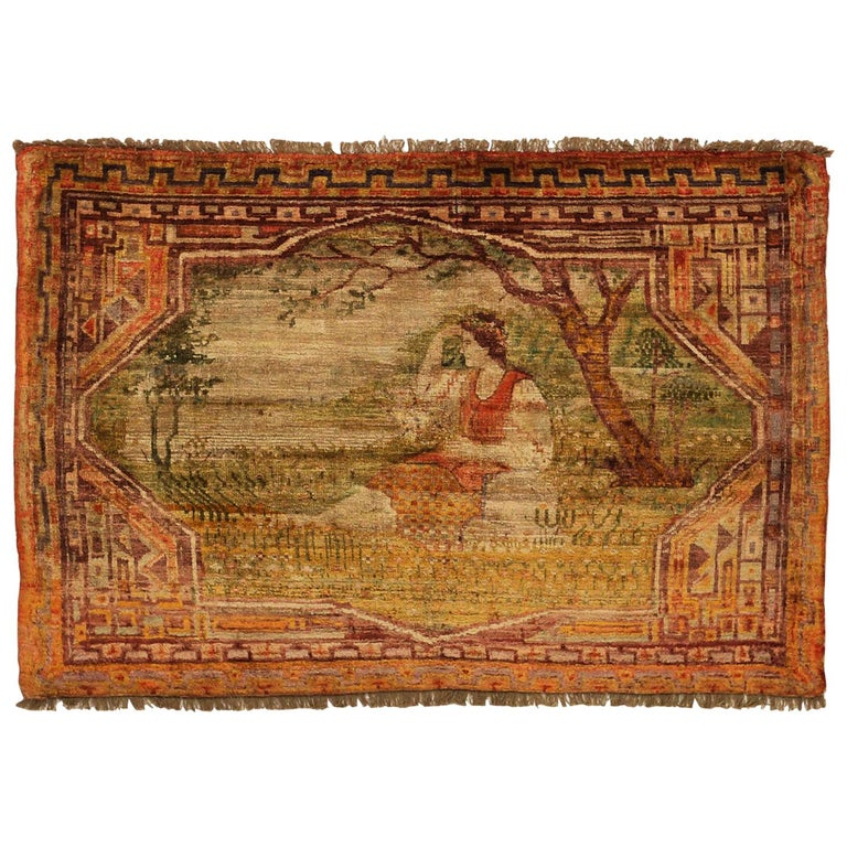 Antique Russian Area Rug Khotan Design For Sale