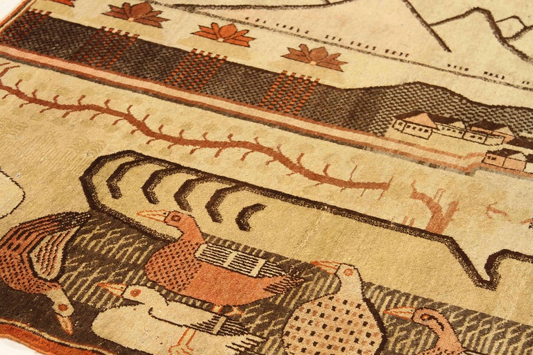 Hand-Woven Antique Russian Area Rug Khotan Design