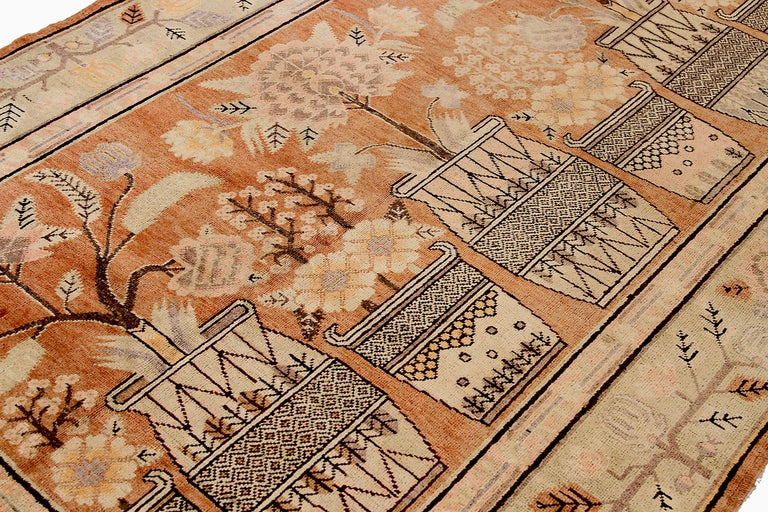 Hand-Woven Antique Russian Area Rug Khotan Design For Sale