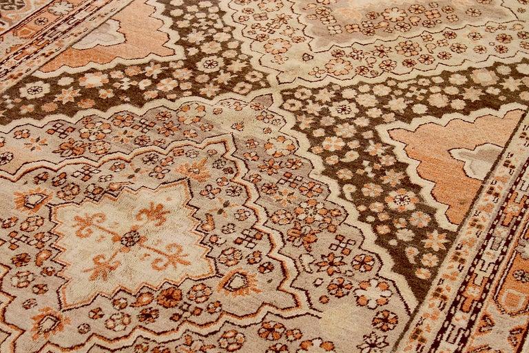 Hand-Woven Antique Russian Area Rug Khotan Design For Sale