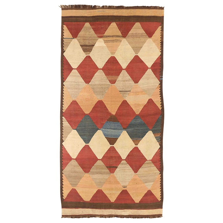 Antique Russian Area Rug Kilim Design For Sale
