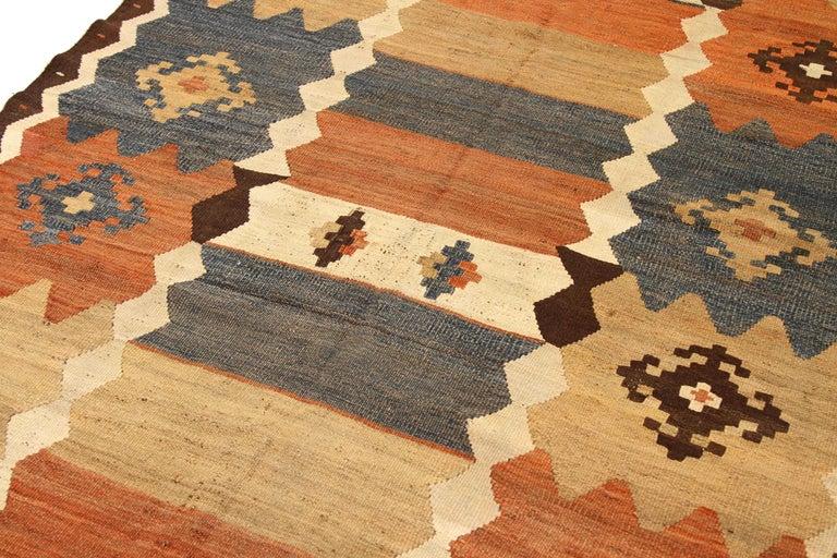 Hand-Woven Antique Russian Area Rug Kilim Design For Sale