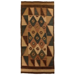 Antique Russian Area Rug Kilim Style Design