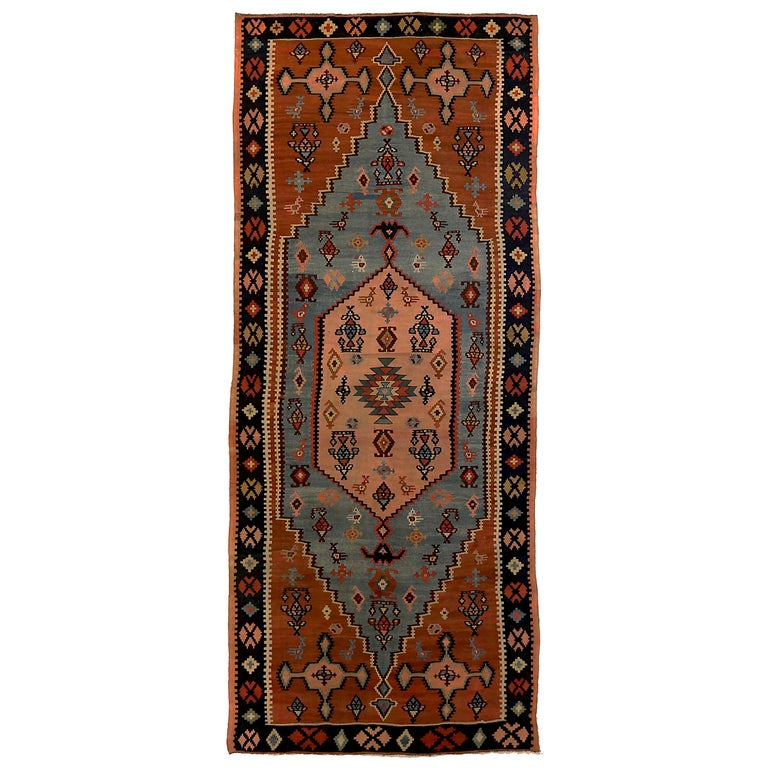 Antique Russian Area Rug Kilim Style Design For Sale