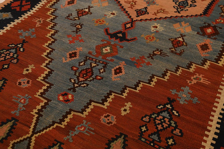 Hand-Woven Antique Russian Area Rug Kilim Style Design For Sale