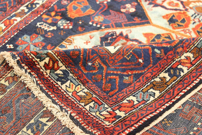 Hand-Woven Antique Russian Area Rug Russian Design For Sale