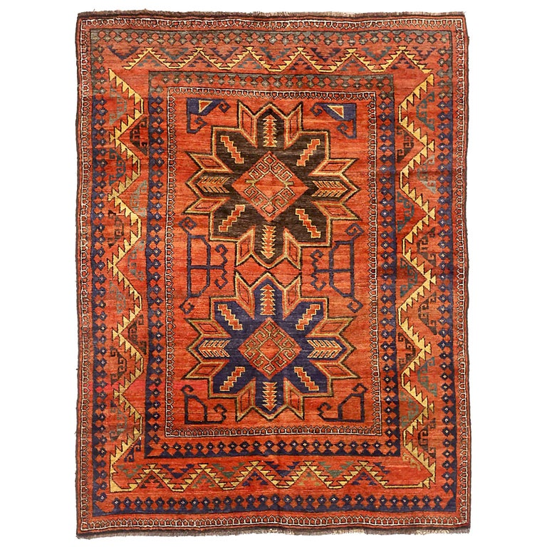 Antique Russian Area Rug Samarghand Design For Sale