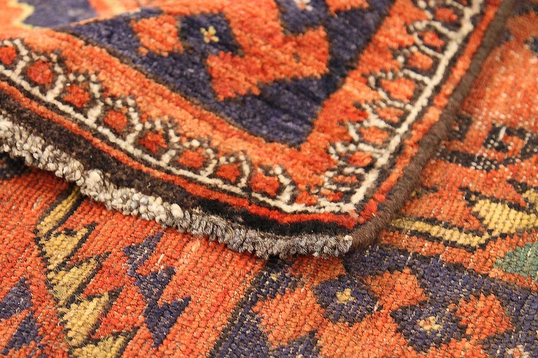 Hand-Woven Antique Russian Area Rug Samarghand Design For Sale