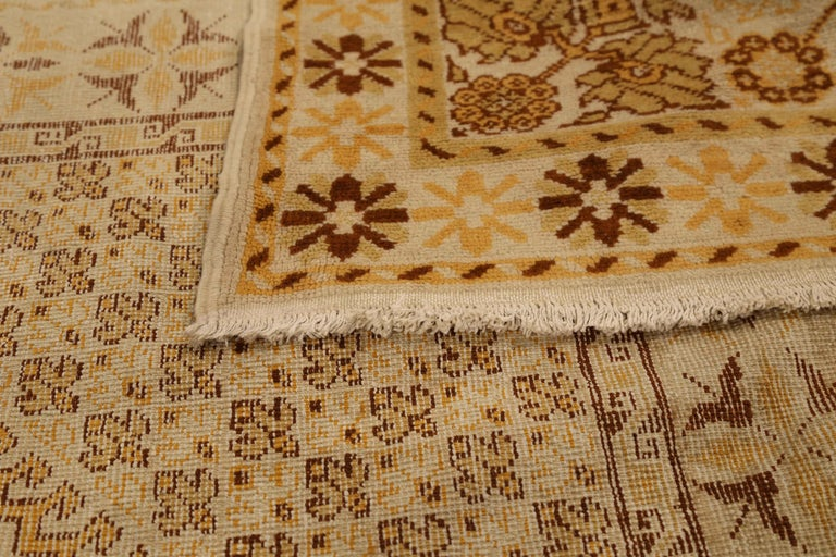 Hand-Woven Antique Russian Area Rug Samarkand Design For Sale