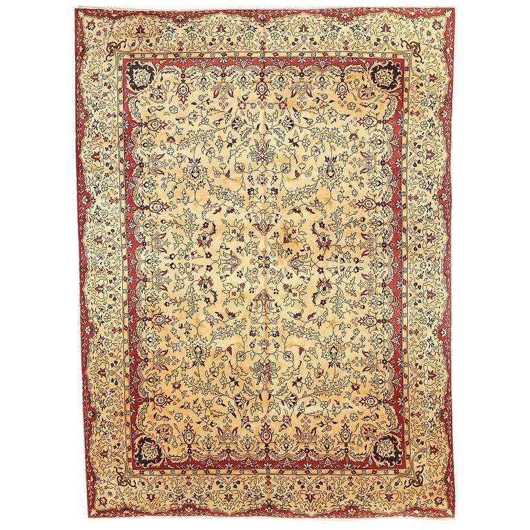 Antique Russian Area Rug Tabriz Design For Sale