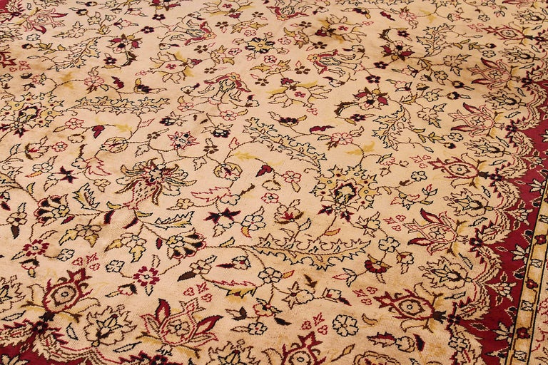 Hand-Woven Antique Russian Area Rug Tabriz Design For Sale