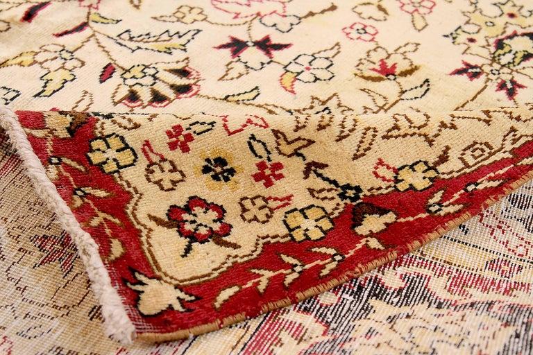 Antique Russian Area Rug Tabriz Design In Excellent Condition For Sale In Dallas, TX