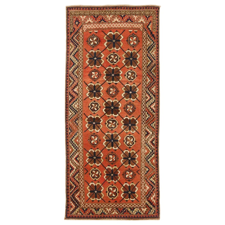 Antique Russian Area Rug Uzbak Design For Sale