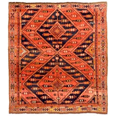 Antique Russian Area Rug Uzbak Design