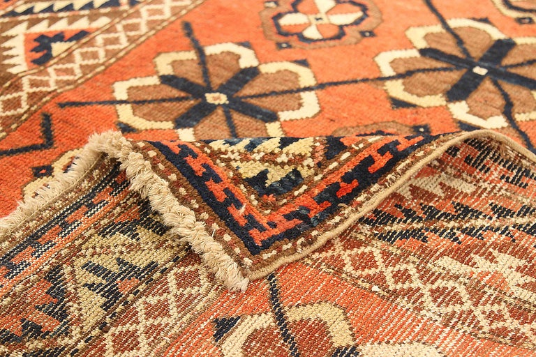 Hand-Woven Antique Russian Area Rug Uzbak Design For Sale