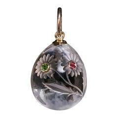 Antique Russian Art Nouveau Jeweled Rock Crystal Egg Pendant