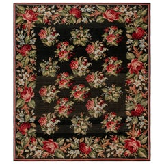Antique Russian Bessarabian Rug with Pattern of Pink Red and Light Blue Bouquets