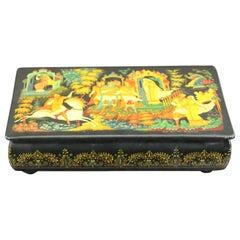 Antique Russian Black Gold Lacquer Box Signed by Kornilov Alexander Albertovich