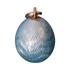 Antique Russian Blue Guilloche Enamel Gold Egg Pendant by Faberge