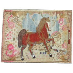 Antique Russian Brown Horse 20th Century Pictorial Wool Decorative Rug