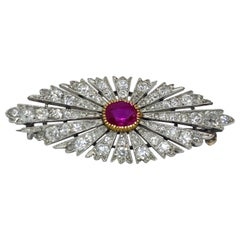 Antique Russian Burma Ruby and Diamond Brooch Pin Platinum, circa 1890