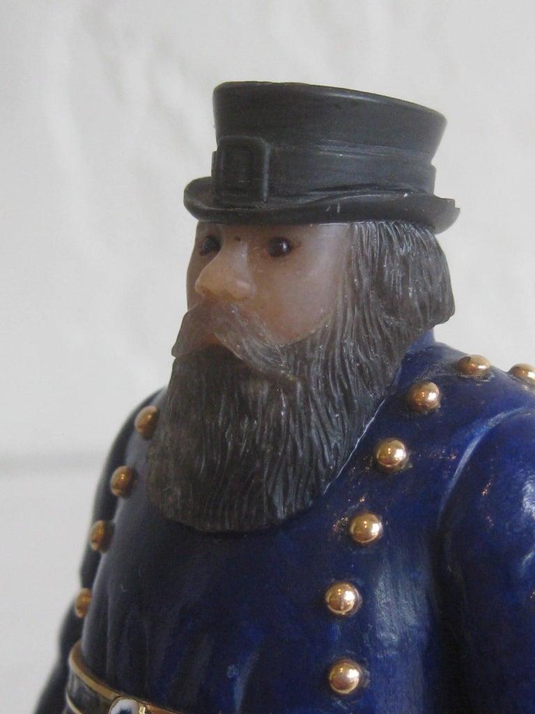 Lapis Lazuli Russian Carved Coachman 18-Karat Gold Enamel Lapis Figure Manner of Fabergé For Sale