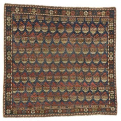 Antique Russian Caucasian Dagestan Square Rug with Modern Tribal Style