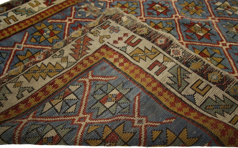 Hand-Knotted Antique Russian Caucasian Shirvan Rug with Diamond Lattice For Sale
