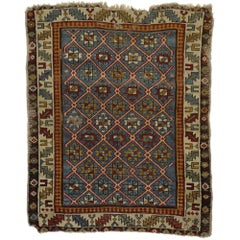 Antique Russian Caucasian Shirvan Rug with Diamond Lattice
