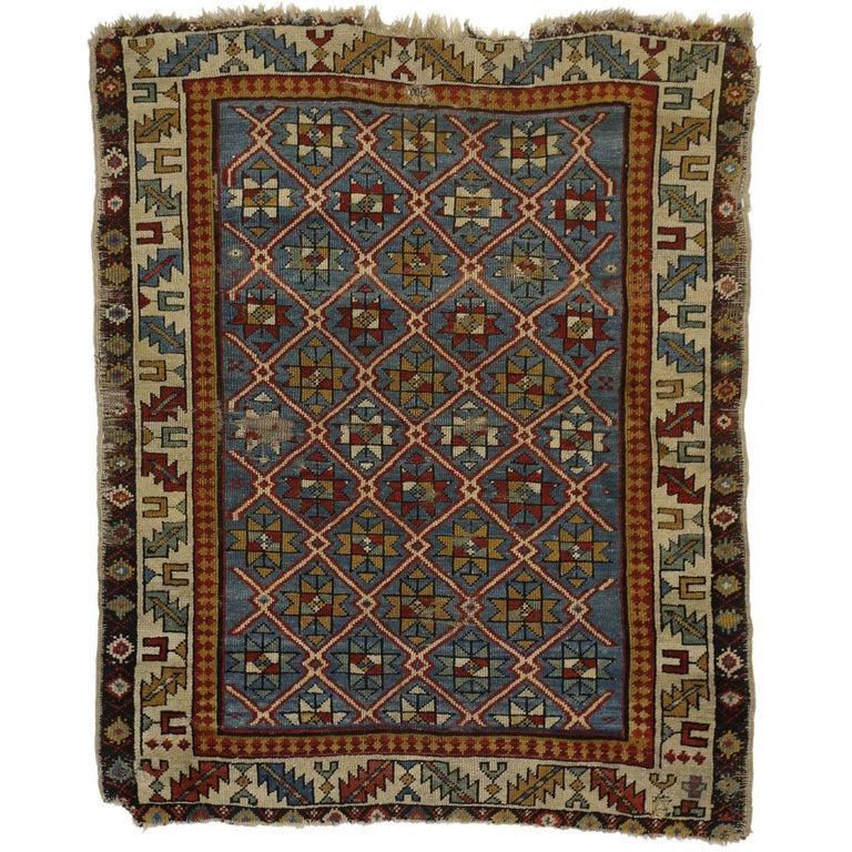 Antique Russian Caucasian Shirvan Rug with Diamond Lattice For Sale