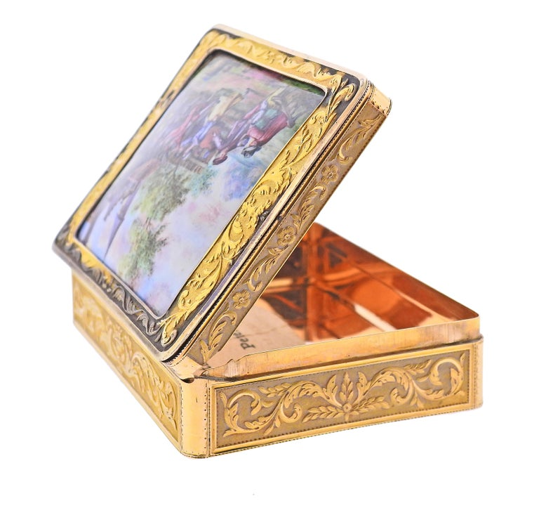 Antique Circa 1810s, Russian made box, in 14k gold with hand applied enamel. Box measures 3.5