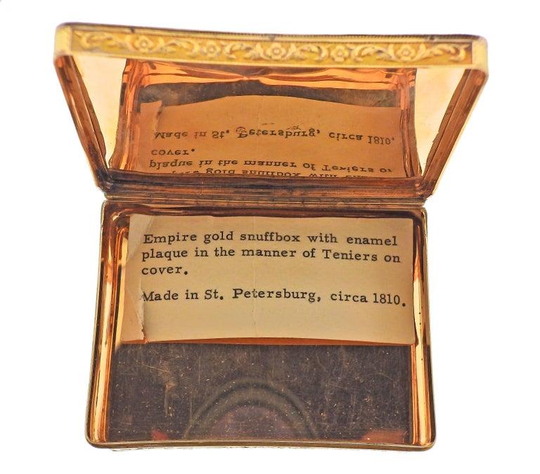 Women's or Men's Antique Russian circa 1810s Enamel Gold Box For Sale