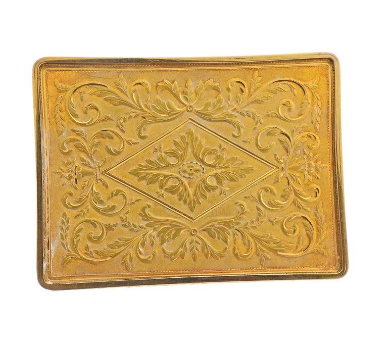 Antique Russian circa 1810s Enamel Gold Box For Sale 1
