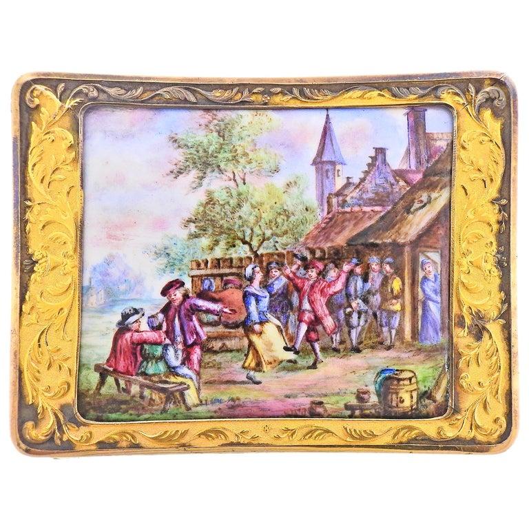 Antique Russian circa 1810s Enamel Gold Box For Sale