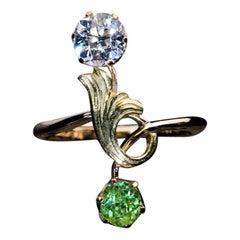 Antique Russian Demantoid Diamond Art Nouveau Ring