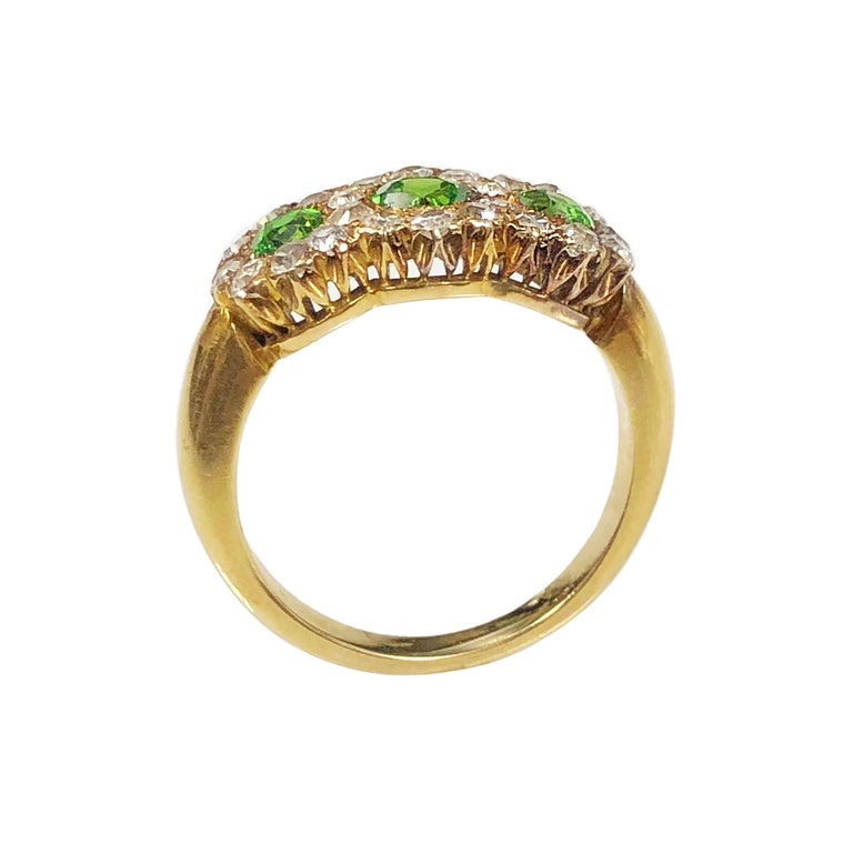 Victorian Antique Russian Demantoid Garnet and Diamond Ring For Sale