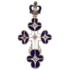Antique Russian Diamond Enamel and Gold Cross Pendant