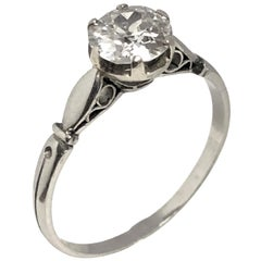 Antique Russian Diamond Platinum Engagement Ring