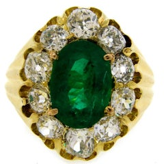 Antique Russian Emerald Diamond Yellow Gold Ring