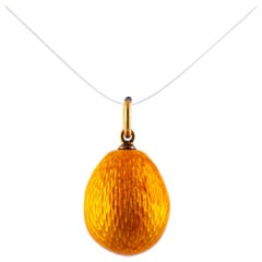 Antique Russian Enamel and Yellow Gold Egg Pendant