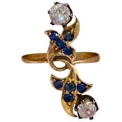 Antique Russian Euro and Mine Cut Diamond 14 Karat Yellow Gold Ring - Size 8 1/4
